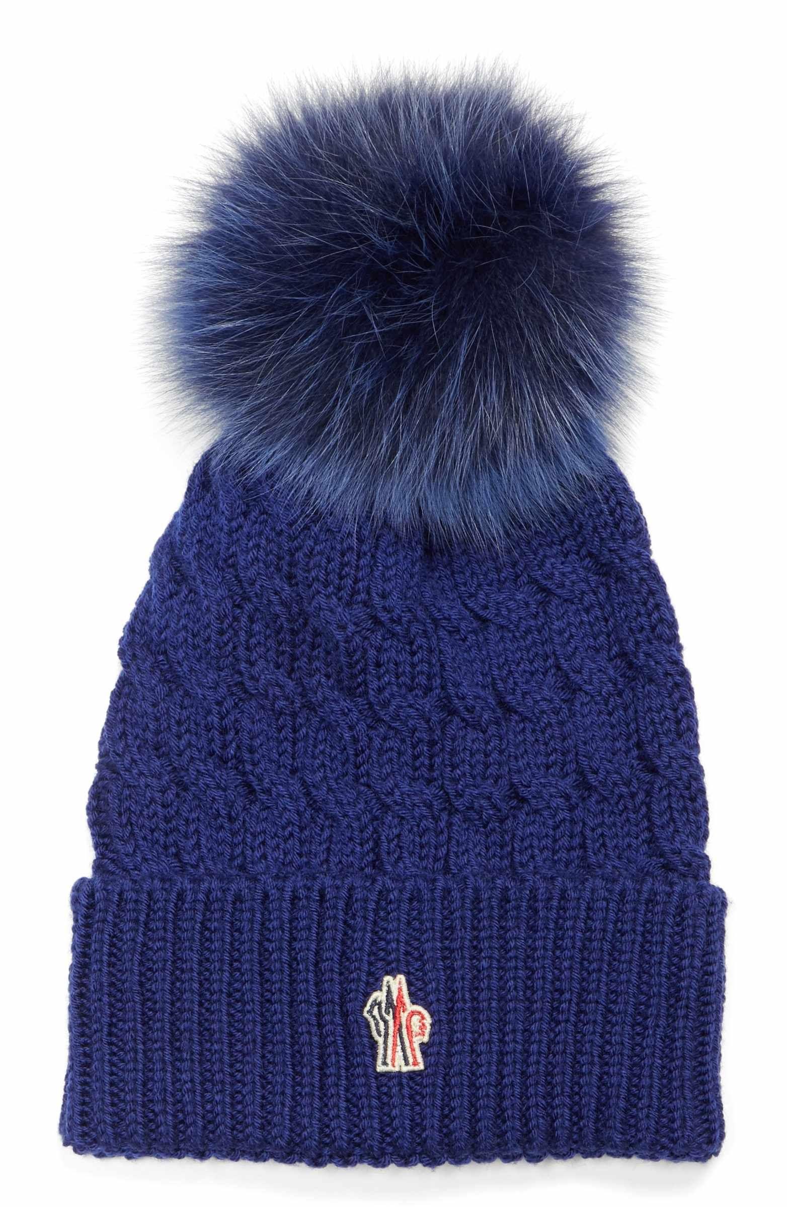 5fbcae06d1e Main Image - Moncler Genuine Fox Fur Pom Ribbed Wool Beanie
