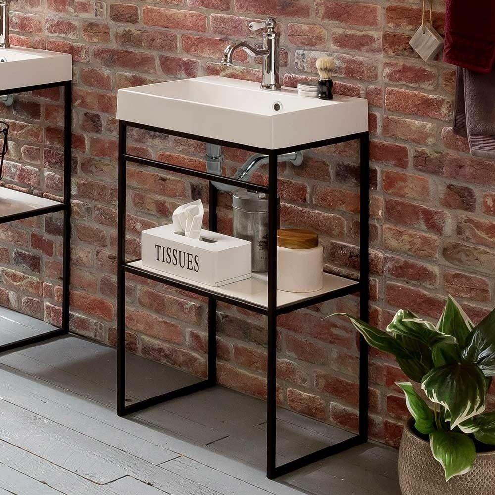 Offener Waschtisch Mit Becken Im Loft Stil Mit 50 Cm Breite Ulivia Waschtisch Loft Stil Unterschrank Bad