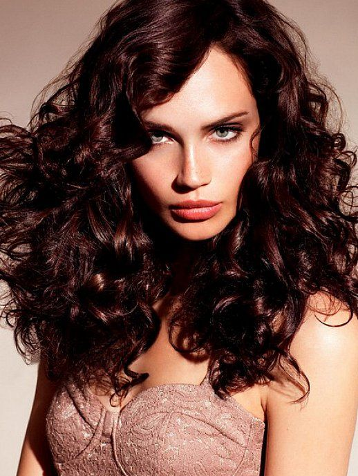 Dark Chocolate Brown Hair Dye For Long Curly Hair With Side Bangs