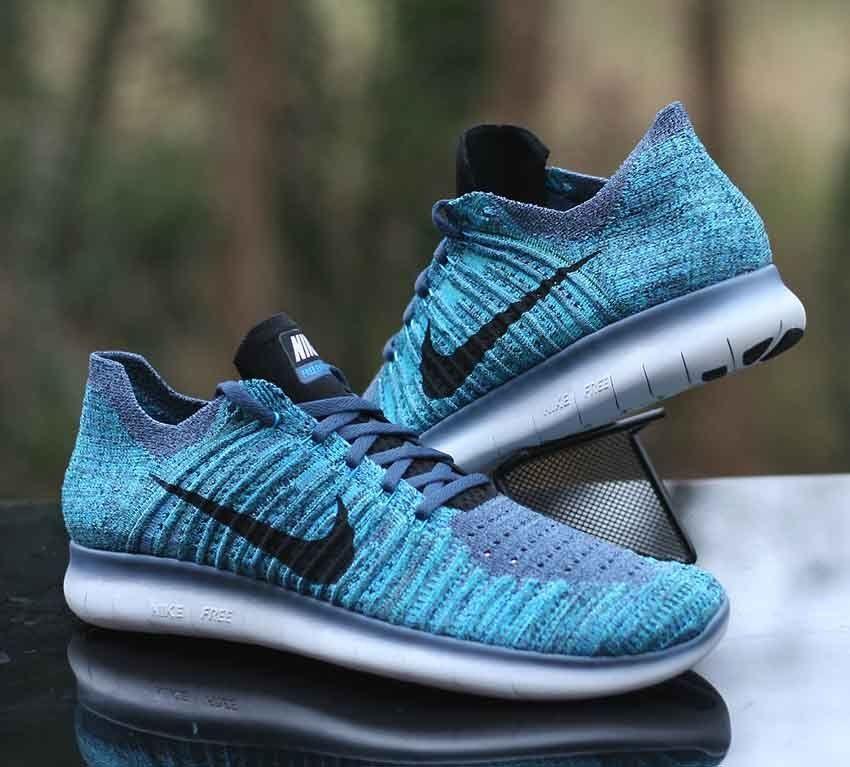 9bae2dab1404 Nike Free RN Flyknit Men s Running Shoes Ocean Fog Blue Glow 831069-404 Size  10