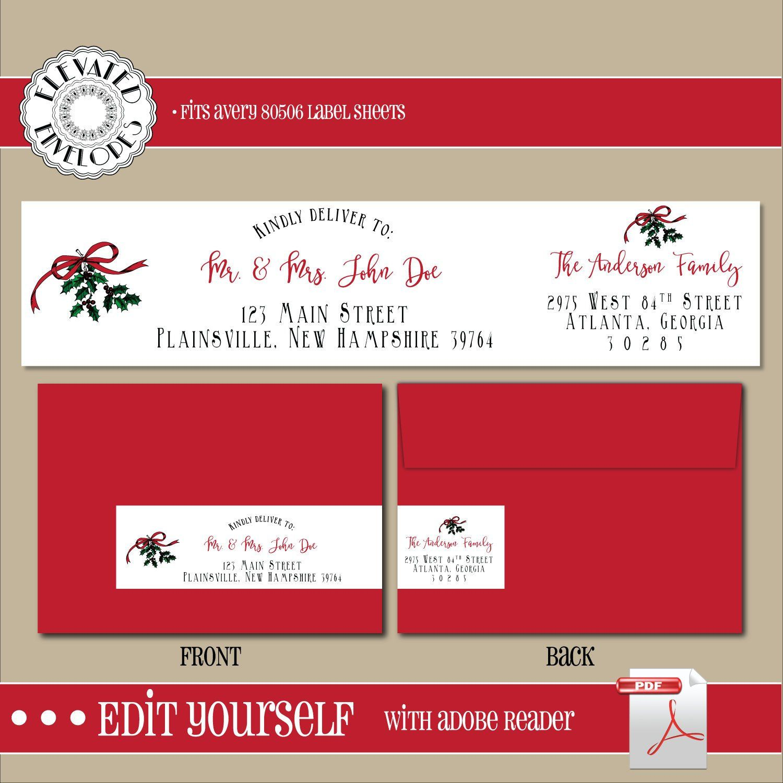 Editable Christmas Address Label Templatewrap Around Label Etsy Christmas Address Labels Address Label Template Address Labels
