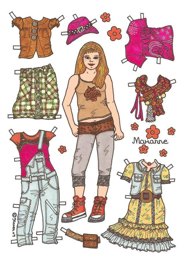 Karen`s Paper Dolls: Marianne 1-6 Paper Doll in Colours. Marianne 1-6 påklædningsdukke i farver.