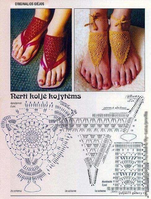 Para el pie adorno   Calcetas, Zapatillas, Cinturones a Crochet ...