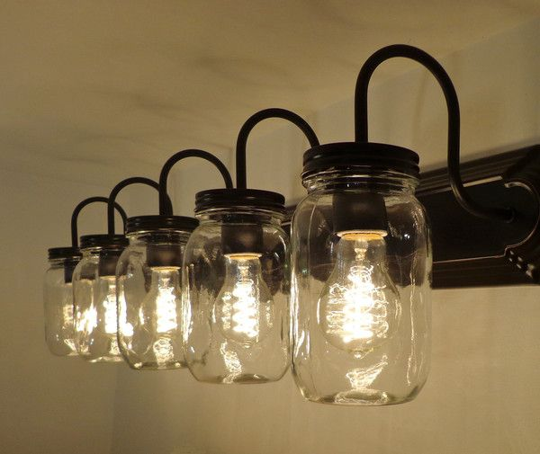 Mason Jar Vanity 5 Light New Quart Clear Mason Jar Bathroom Rustic Bathroom Lighting Mason Jar Lighting