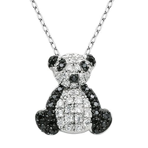 Sterling Silver CZ Bear Pendant Necklaces - Rhodium Plated nLRpU57Ti