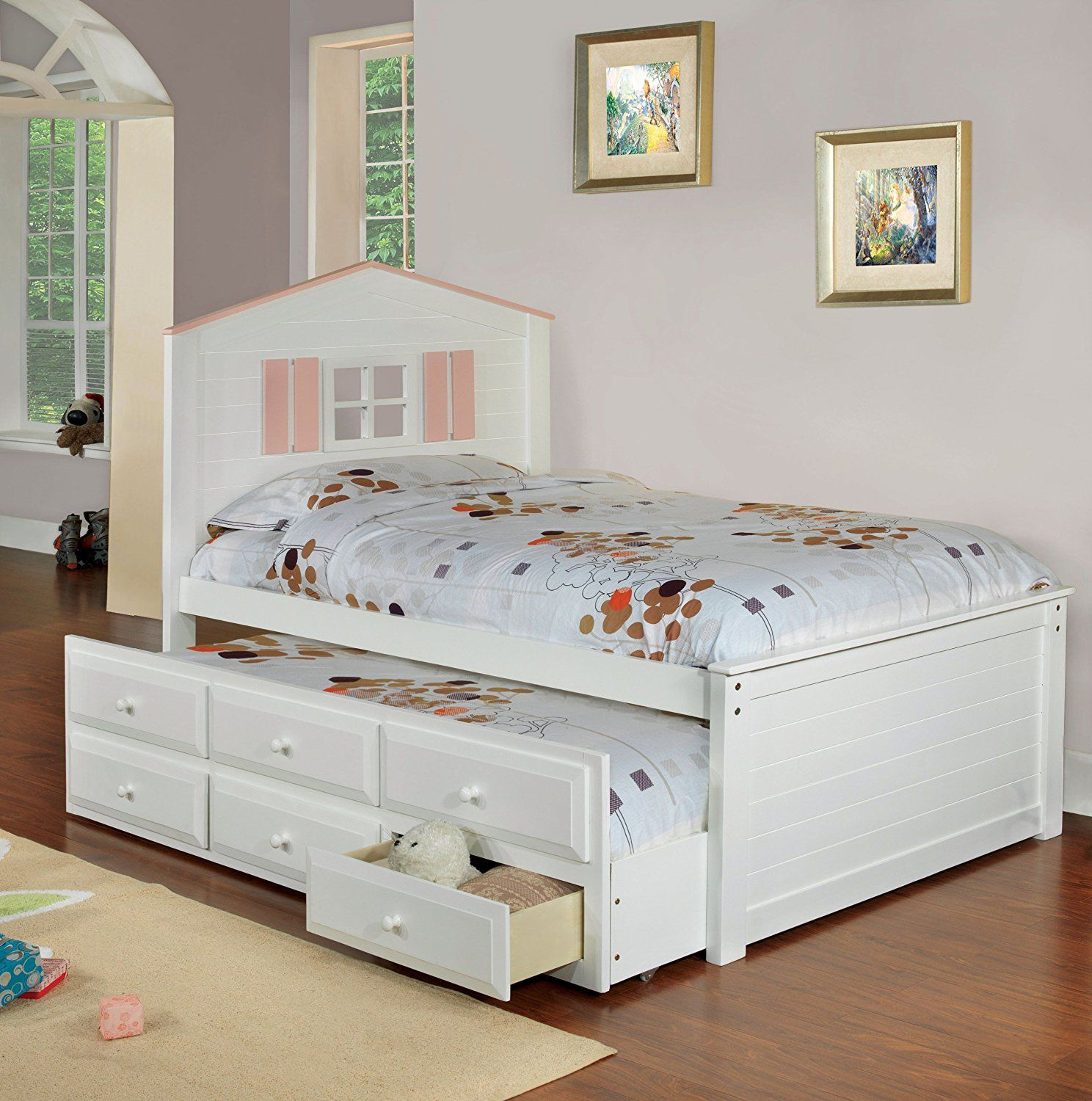 Twin White Captain Bed with Trundle and Drawers Bed with