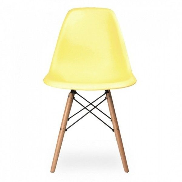 contemporary retro molded eames style light yellow accent plastic