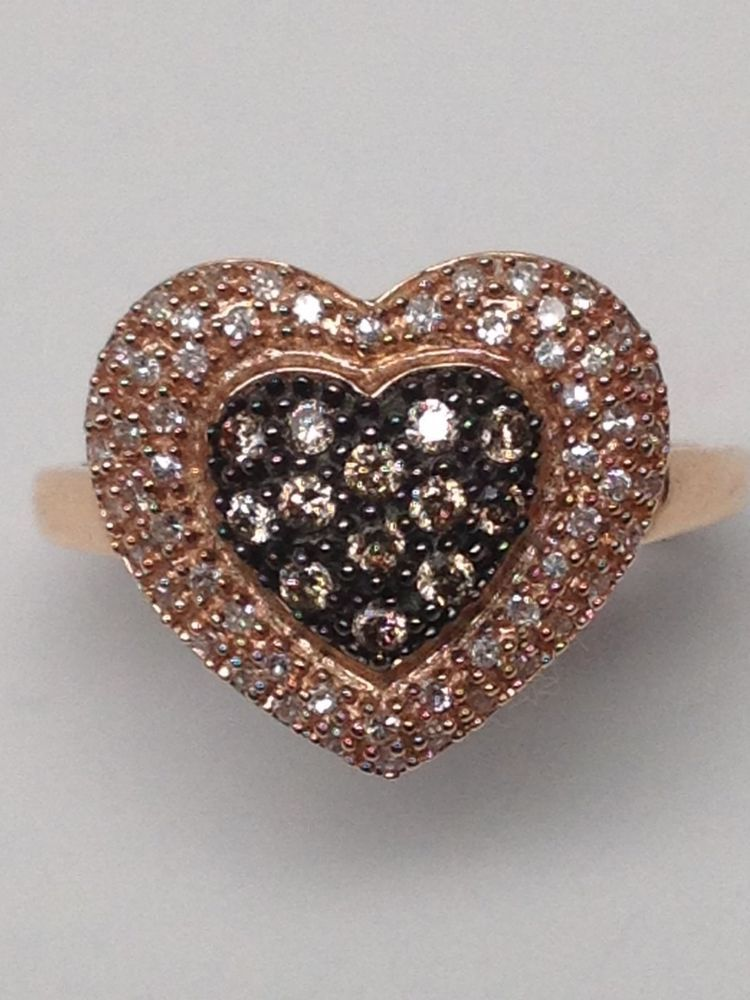 Brand New 14K Rose Gold Champagne and White Diamond Heart Cluster