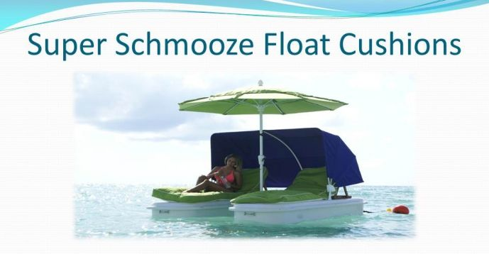 Seduction Floats™ Floating Resort Cabanas are at home on the sand or afloat, securely anchored in shallow water.