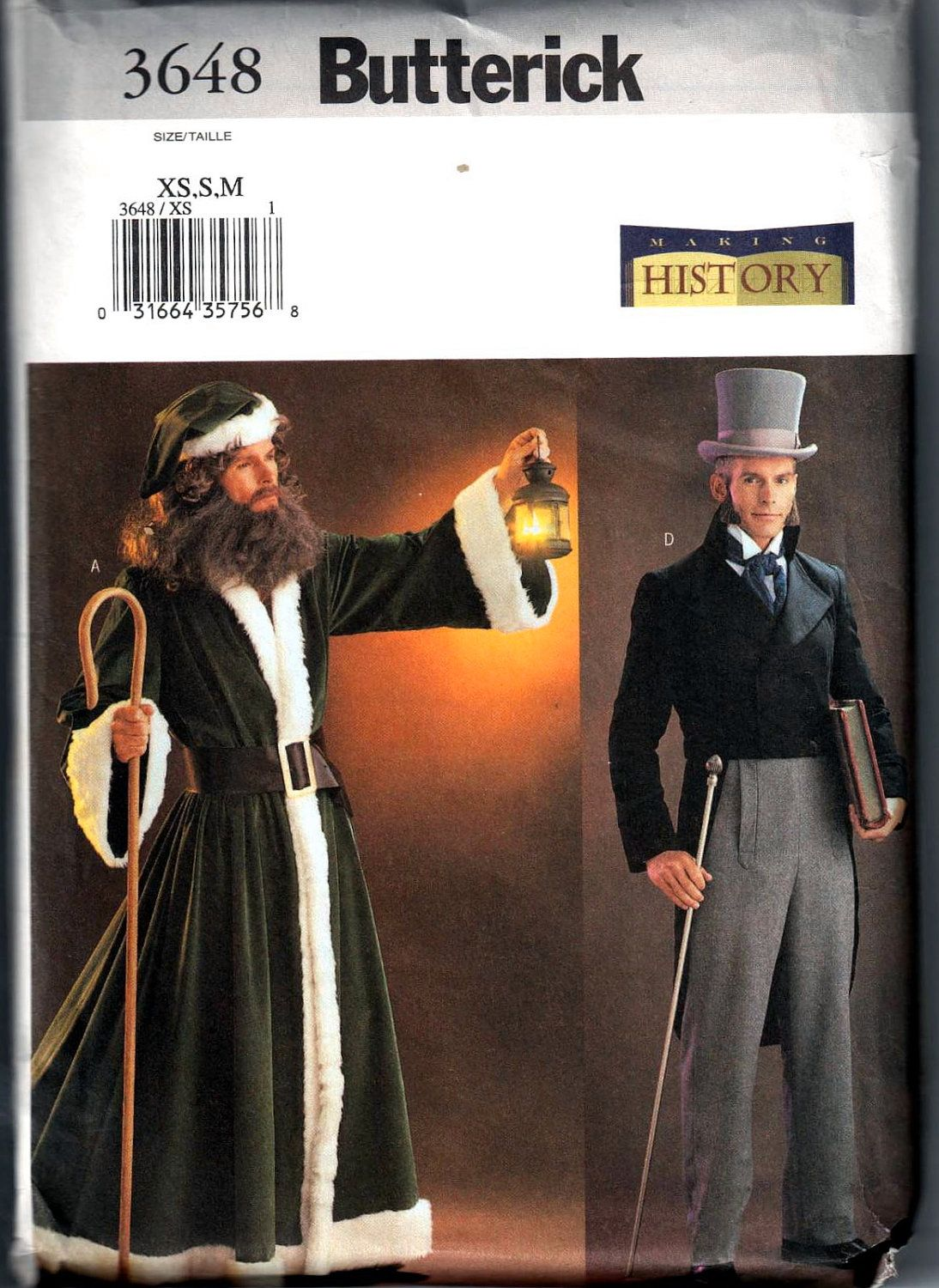 Butterick 3648 Making History Mens Dickens Costume Pattern Victorian ...