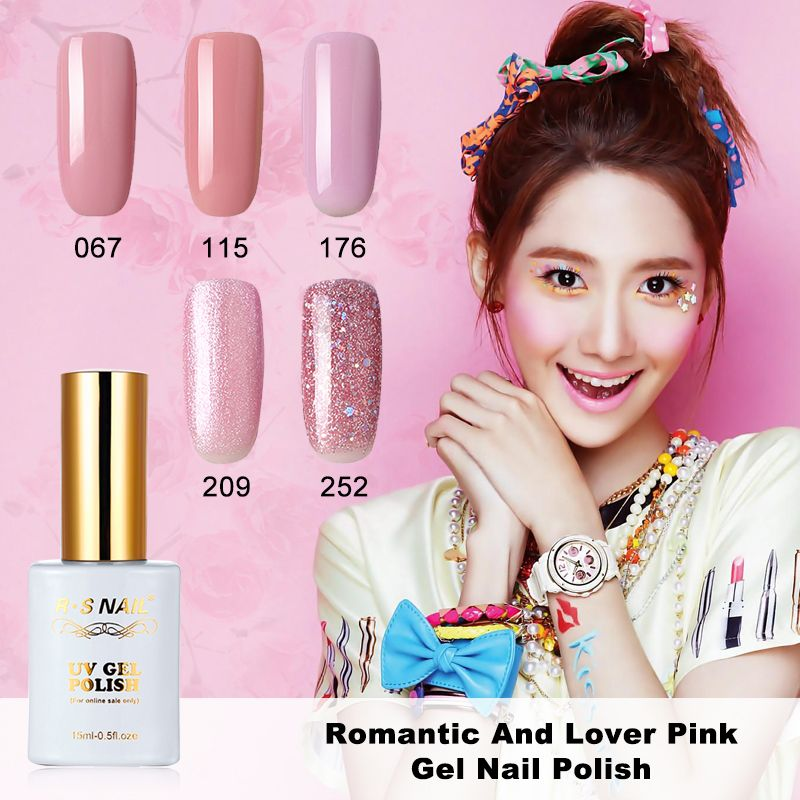 MRO 15 미리리터 로맨틱 달콤한 연인 젤 네일 폴란드어 UV LED 여자 핑크 누드 시리즈 적시 오프 젤 바니시를 달콤한 색상