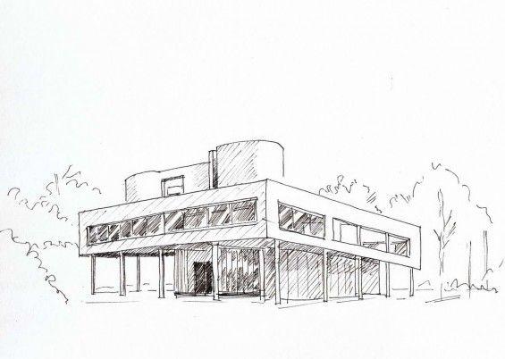 Villa Savoye Poissy Croquis Architecturaux Dessin Architecte Sketchbook Architecture