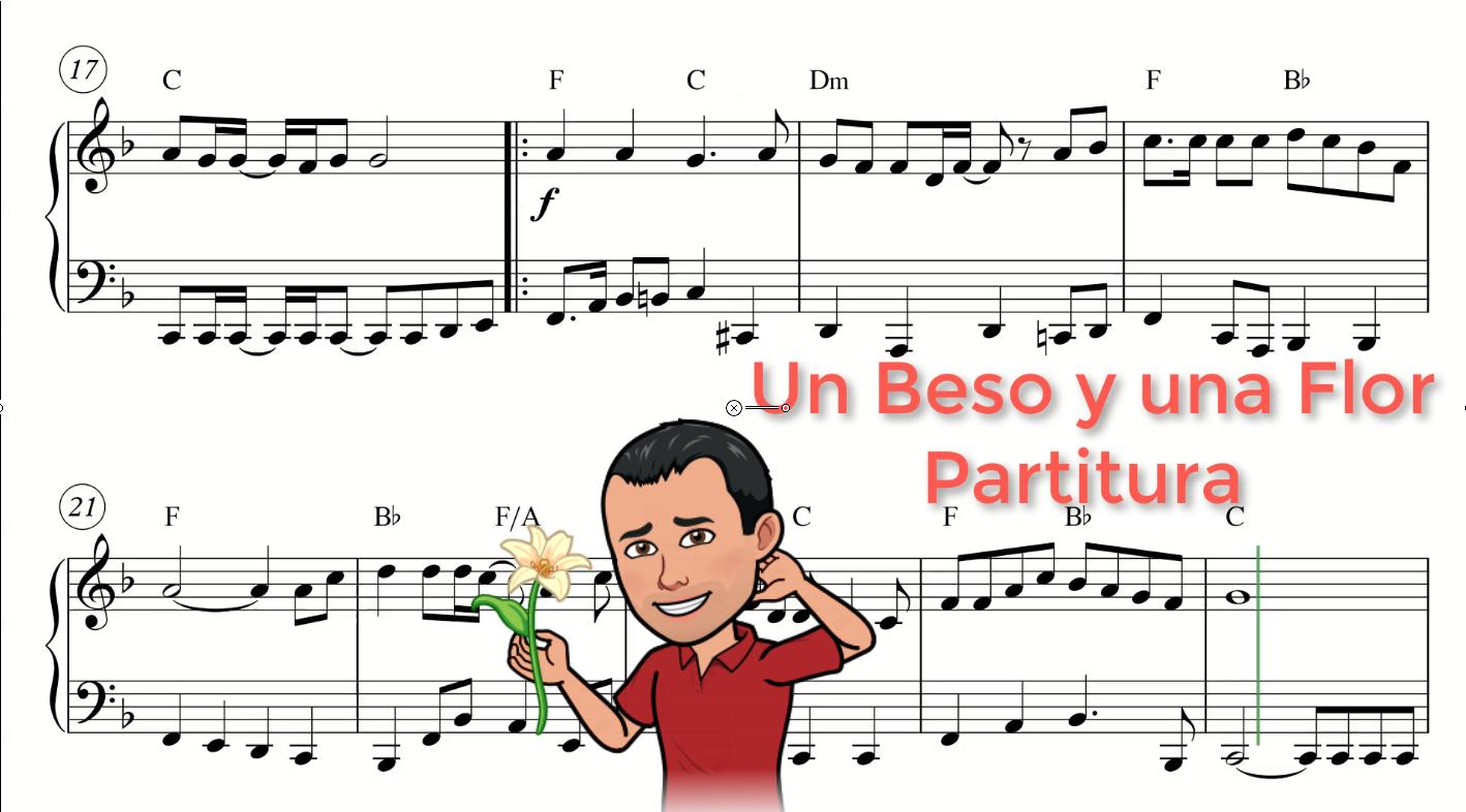 Partitura Un Beso Y Una Flor De Nino Bravo Partituras Partituras De Piano Gratis Piano Partituras