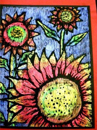 Oil Pastel Sunflowers In Scratch Art Artsonia