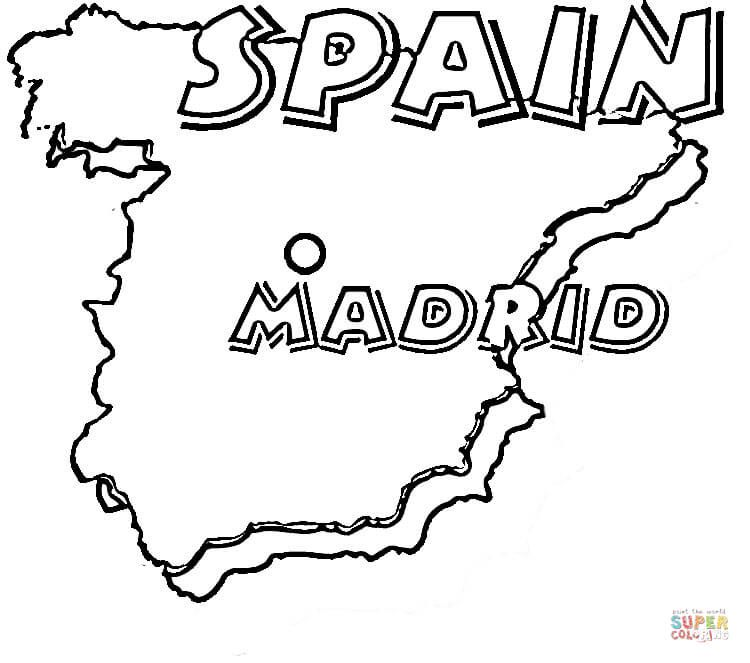 Map of Spain. Madrid is the capital of Spain. | Super Coloring ...
