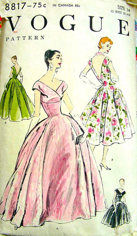 FABULOUS Vintage 50\'s VOGUE Uncut Pattern 8817 - Evening Gown Off ...