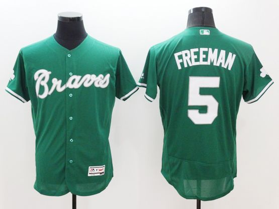 Majestic Atlanta Braves 5 Freddie Freeman Green Flexbase Collection Jersey Atlanta Braves Braves Atlanta Braves Jersey