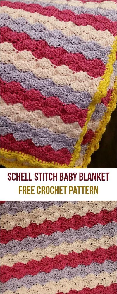 Free pattern] Shells Stitch Baby Blanket #crochet | Crochet ...