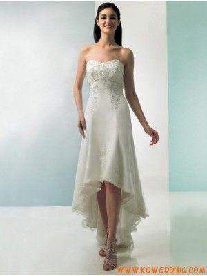 Ivory Tea Length High Low Hem Empire Waist Wedding Dress