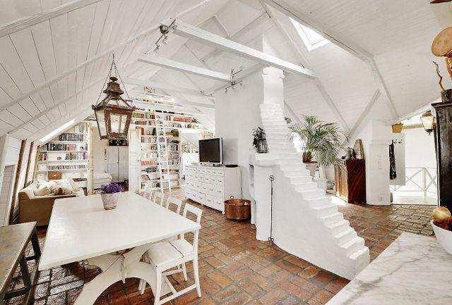 dachwohnung innenarchitektur design ideen wei e waende bodenfliesen shabby chic m bel norman. Black Bedroom Furniture Sets. Home Design Ideas