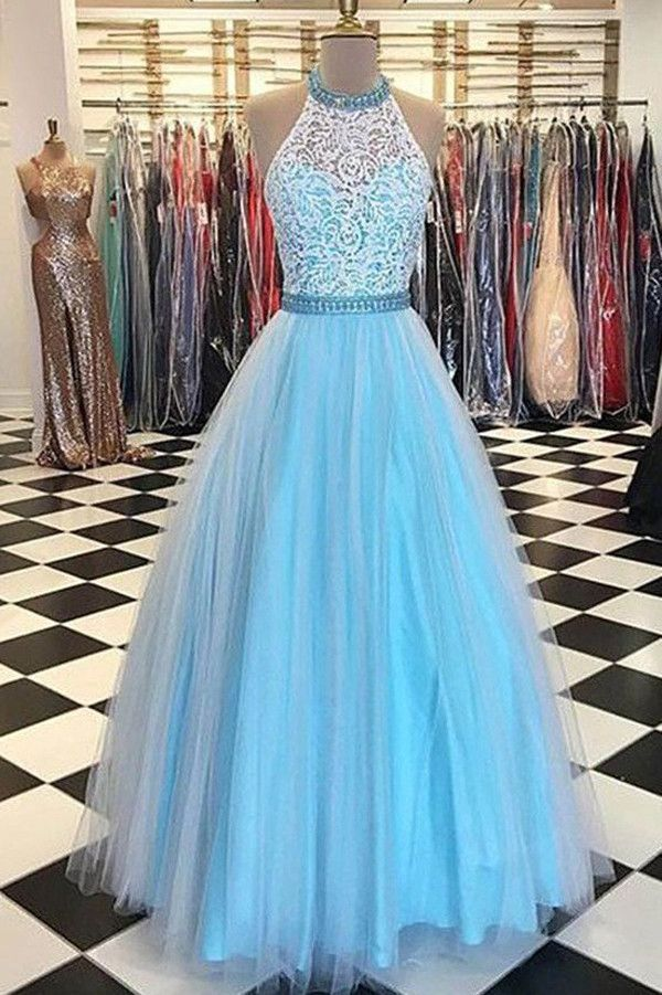 Sleeveless A Line Prom Dresses,Halter Lace Bodice Prom Gown,Tulle ...