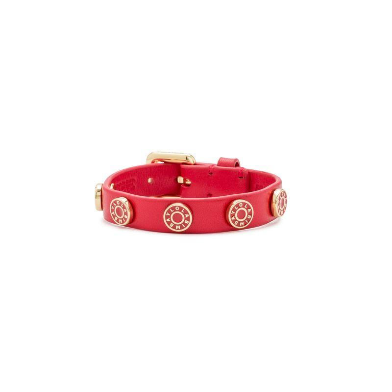 bimba y lola pulsera piel logo moneda roja