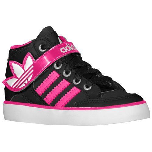 adidas Originals Hard Court Hi Strap - Girls' Toddler - Basketball - Shoes  - Black