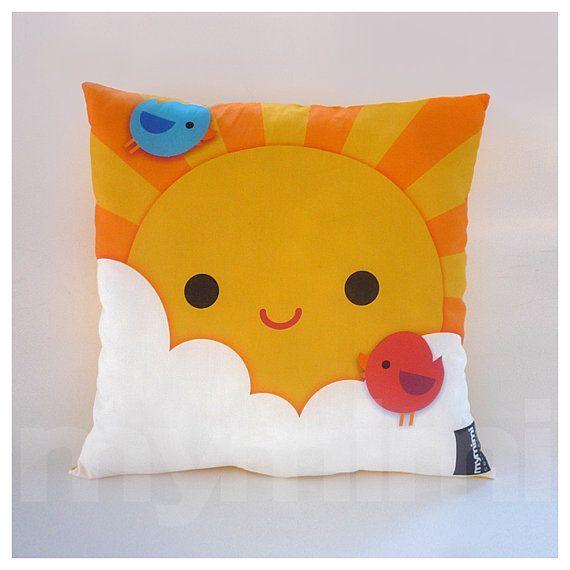 12 x 12quot Yellow Pillow, Decorative Pillow, Kawaii Print, My Little Sunshine, Kids Throw Pillow, Gir