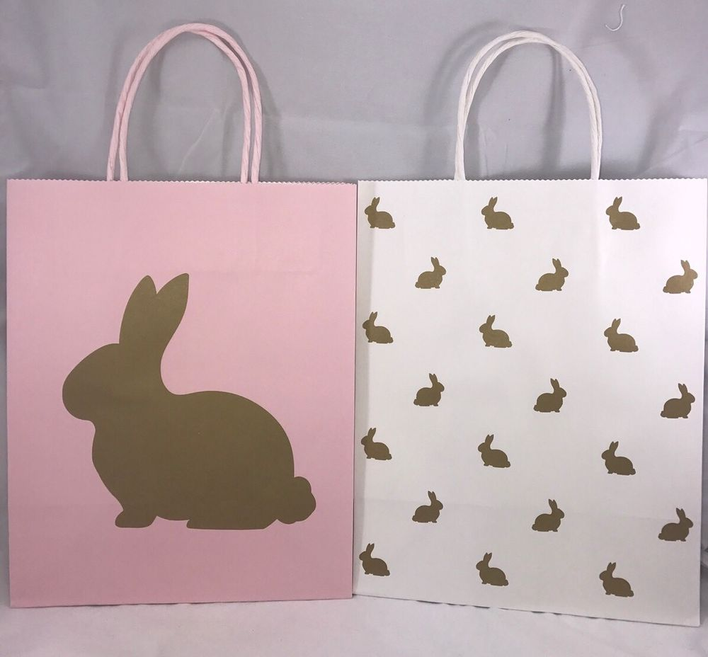 Celebrate it easter pink and white gold bunnies medium gift paper celebrate it easter gift bags with carrying handles you will receive two paper gift negle Image collections