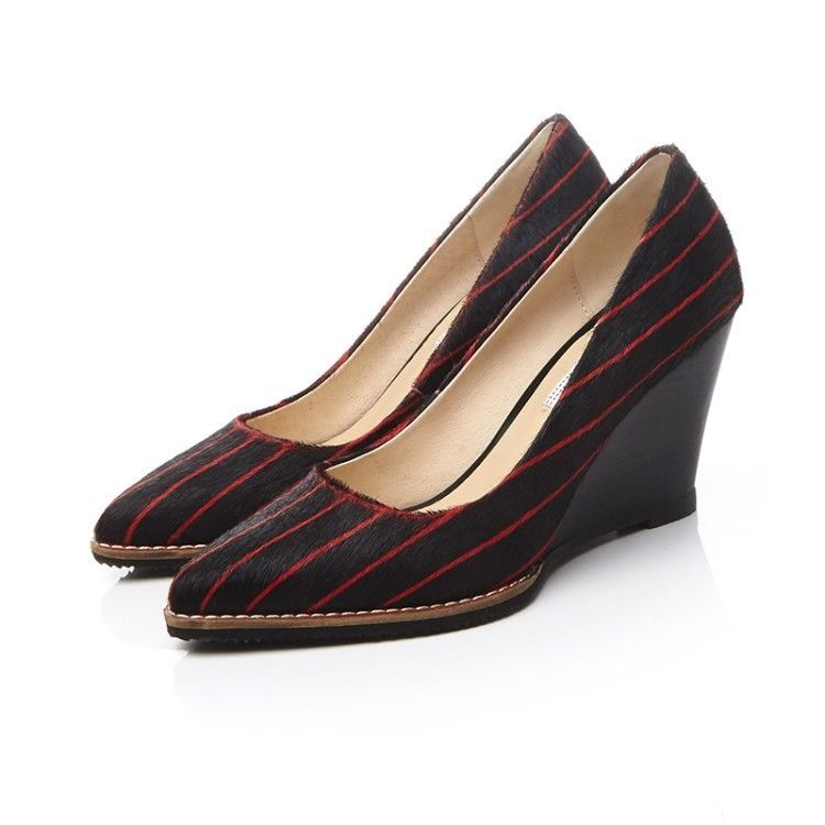 Womens Widge Stripe Vintage Shoes Pointy Elegant Office Lady Slip On Vogue