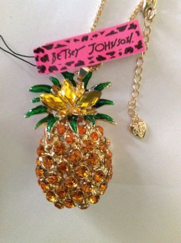 Betsey Johnson $8.99 Hawaiian Pineapple Necklace & Free Gift USA #BetseyJohnson #Chain