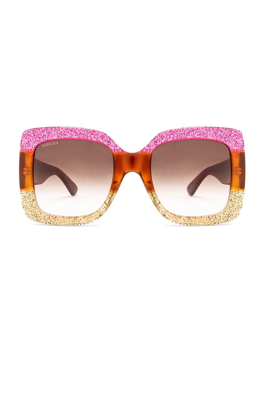 b54df241c11 Gucci Oversize Square Acetate in Shiny Glitter Fuxia   Blonde Havana    Glitter Gold
