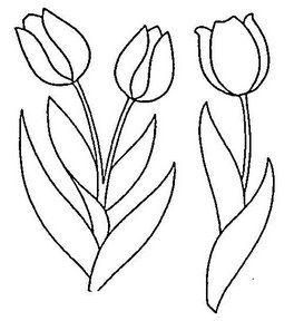 Tulipanes Para Colorear Tulipanes Para Colorear Tulipanes Dibujo Patrones De Bordado
