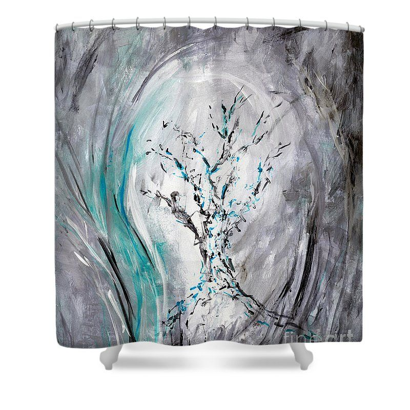 Tree Shower Curtain Featuring The Painting Tree Impression Aqua Gray By Anita Curtains For Sale Tree Shower Curtains Gray Shower Curtains