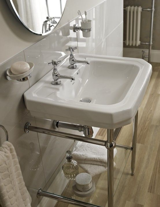 Victorian 610 Basin With Stand 2 Tap Holes Edwardian Bathroom