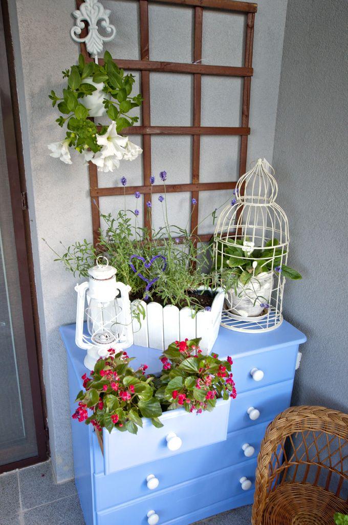 Balkon Meble Ogrodowe Komoda Kwiaty Kratka Klatka Decor Ladder Decor Home Decor
