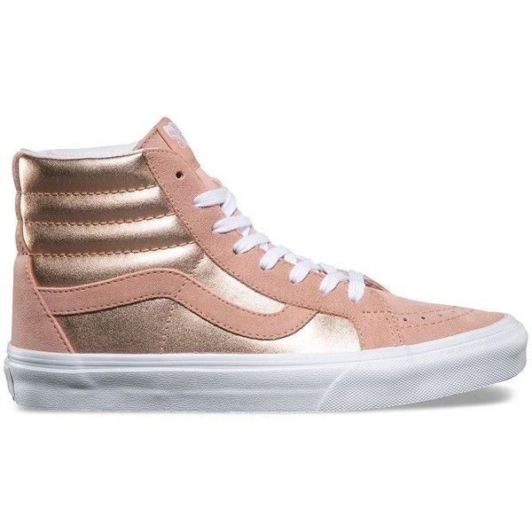 6608eae601c4 Vans 2-Tone Metallic SK8-Hi Reissue ( 70) ❤ liked on Polyvore featuring  shoes, sneakers, pink, leather high tops, pink high tops, vans high tops,  ...