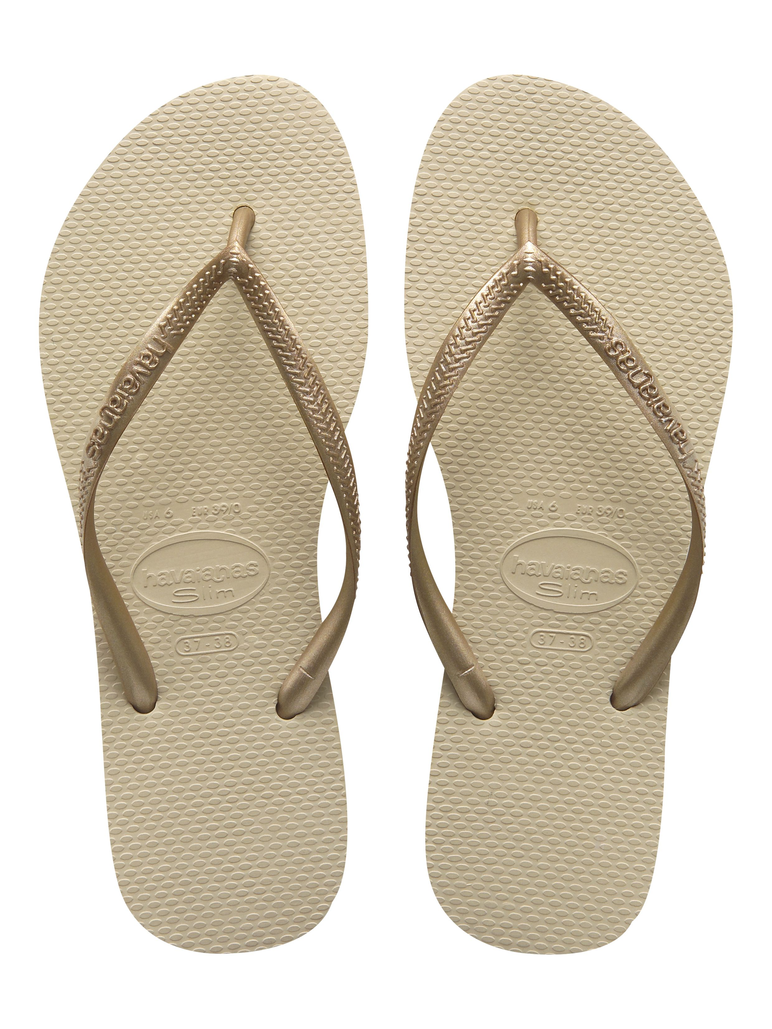 Havaianas Slim in Sand Grey/Light Golden
