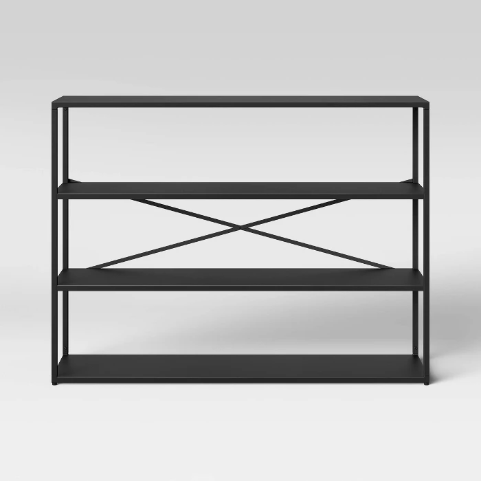 Glasgow Horizontal 3 Shelf Metal Bookcase Black
