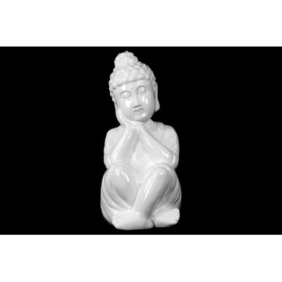 World Menagerie Therrien Ceramic Sitting Buddha Gloss Yellow Green | Wayfair #buddhadecor