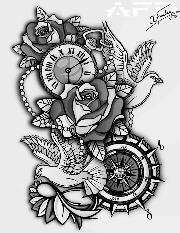 Rose Clock Tattoo Designs Drawing: I Want This One