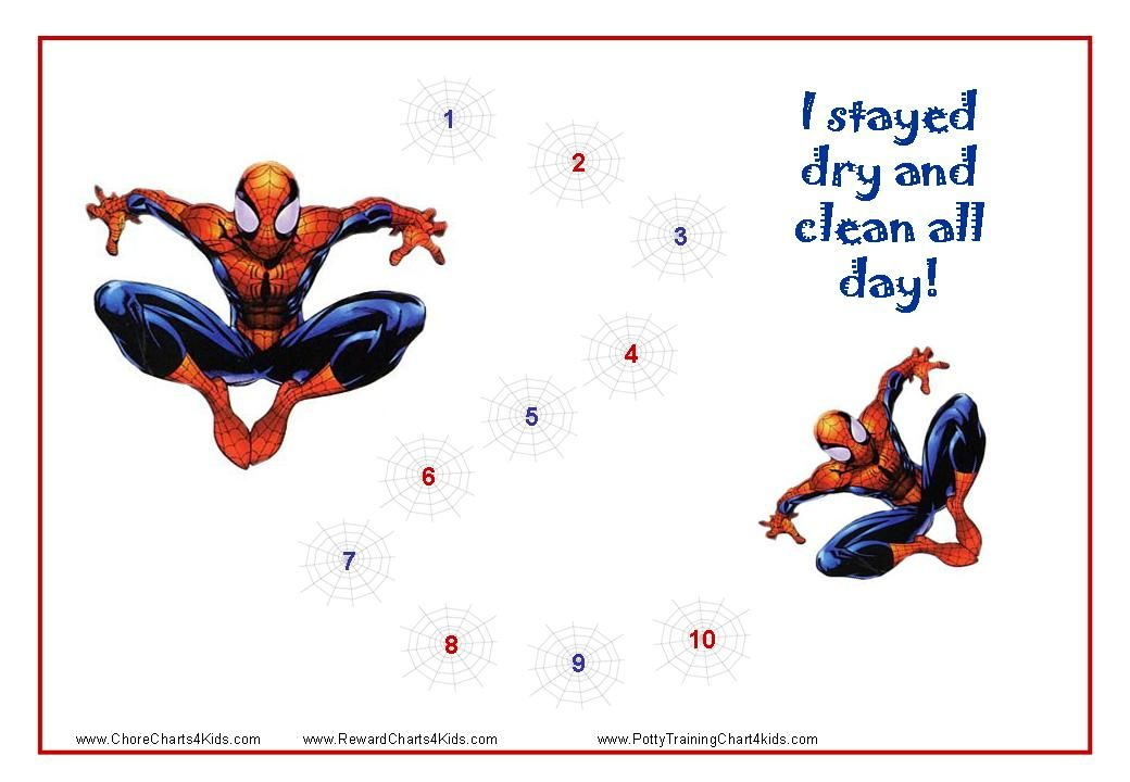 spiderman toilet training charts