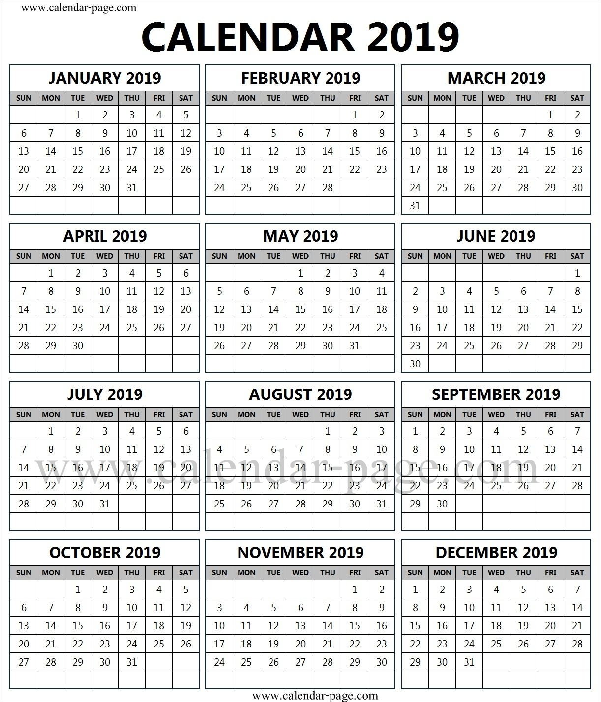 Printfree Calendar 2019 2019 Free Calendar To Print | 2019 Calendar Template | Free