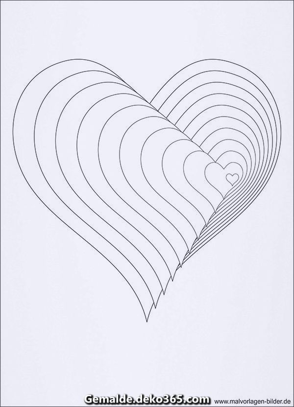 Außergewöhnlich 3d Färbung Mit Kraulen Optical Illusions Art Valentine Art Projects Heart Coloring Pages