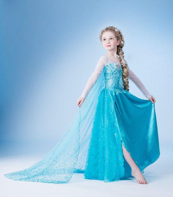 Girls Longer Wedding Dress Elsa Frozen Dress Anna Party Cosplay Children Clothes