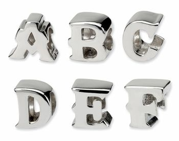 Sterling Silver Block Letter Beads For European Style Bracelets