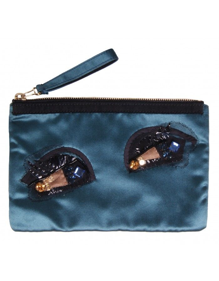 <p>Lanvin Alber Drawing Eyes Satin Cosmetics Case, Blue/Green</p> <p>Teal satin fabric make up bag, could also be used as small eveing clutch bag</p> <p>Wrist strap</p> <p>Black PVC, crepe and tulle eye design, multicolored crystals, black beads and go