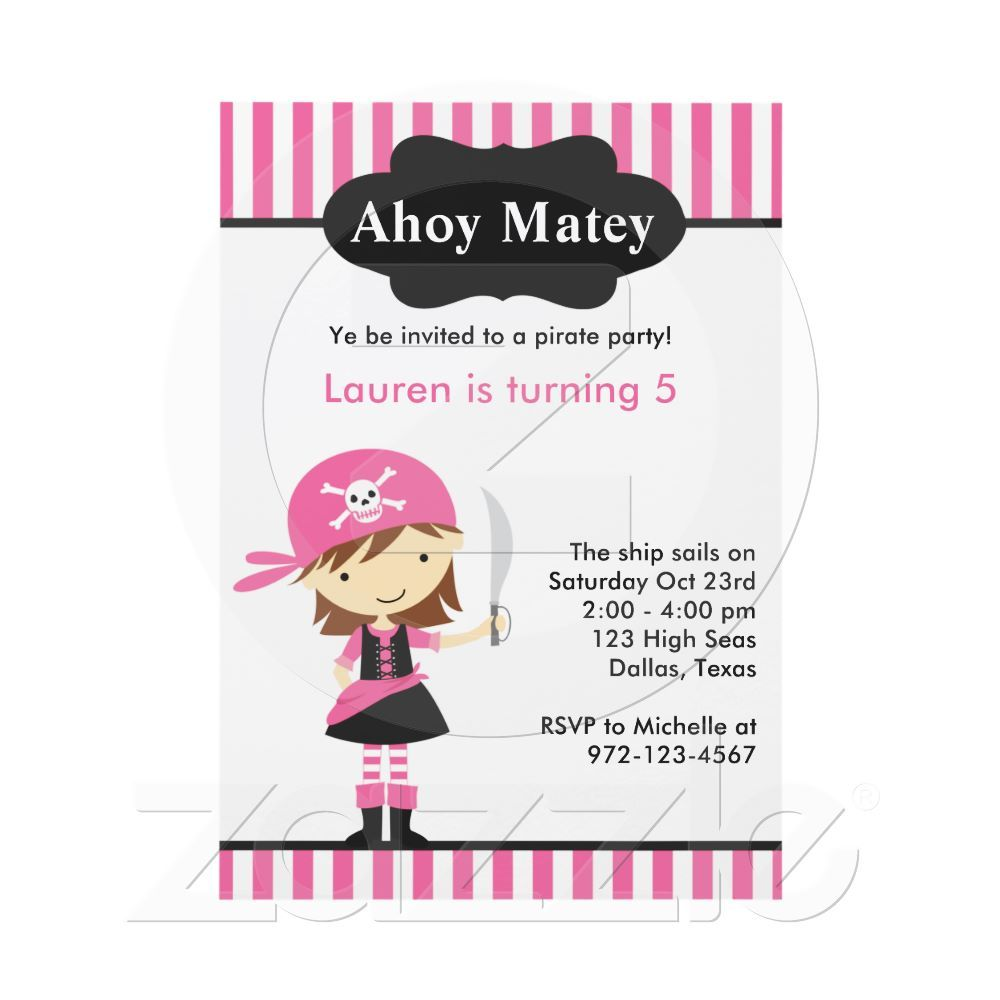 another pirate girl invite.. Pirate birthday party