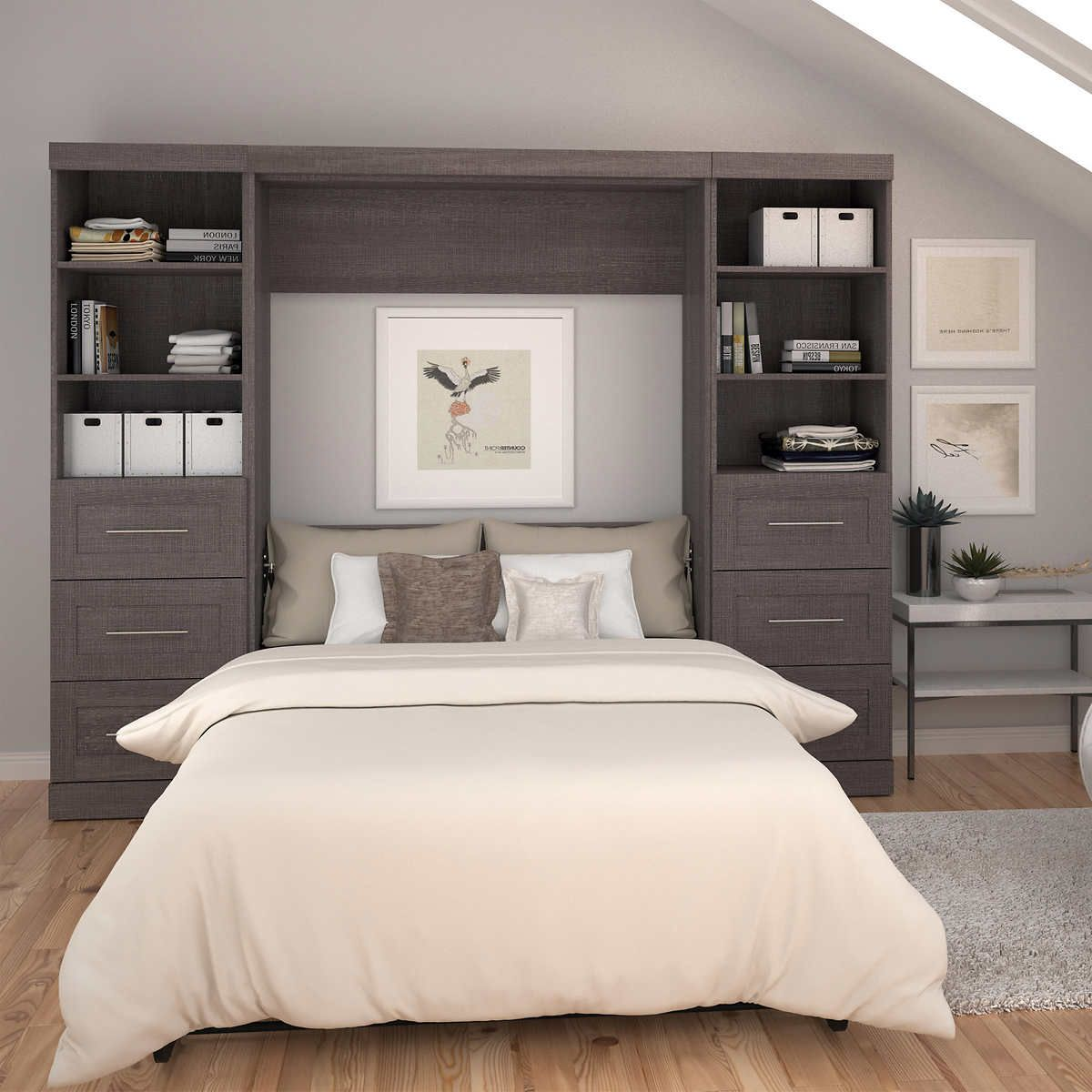 Baton Rouge Full Wall Bed Grey With Drawers And Storage