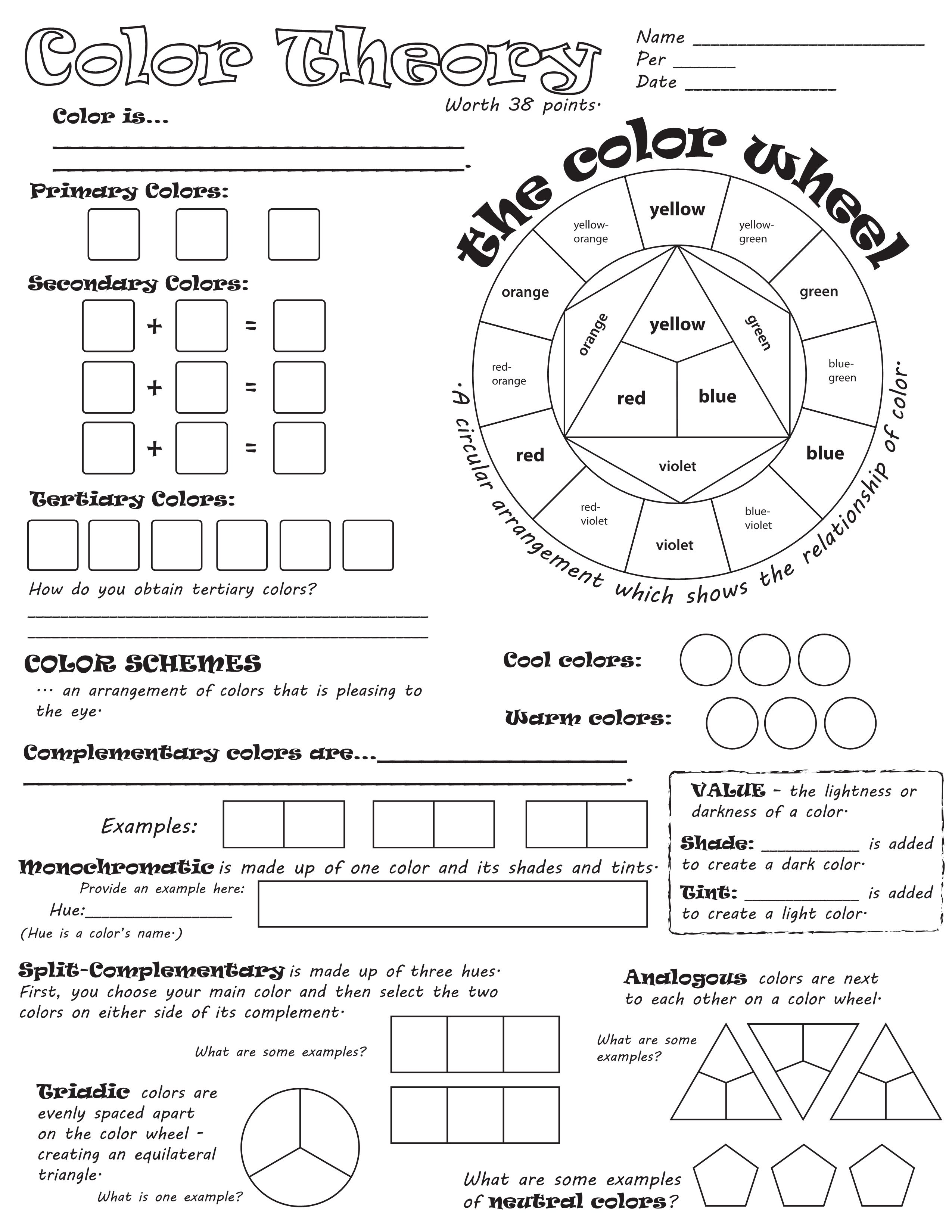 worksheet Art education lessons, Elements of art color